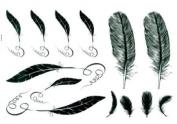 Hot Selling Men and Women Waterproof Tattoo Sticker Feather Fake Tattoo