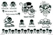 Men and Women Waterproof Tattoo Sticker Rock Skull Wind Temporary Tattoo