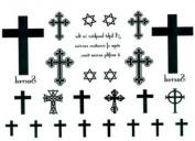 Temporary Tattoos Waterproof Cross Hexagram Fake Tattoo By Ym-k