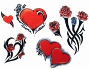 Hearts & Roses Temporary Tattoo Body Art