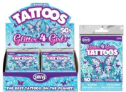 50 Assorted Temporary Tattoos for Girls- Glitter