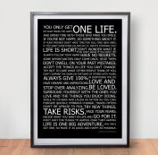 LIFE MANIFESTO POSTER - In Black Motivational Quote Wall Art Picture Print - Size A2