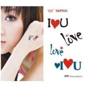 """""""I Love U"""" Temporary Tattoo Waterproof Body Tattoo Stickers 2pcs/set"""