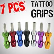 7pcs Lot Ultra Slim Aluminium Alloy Grip w/ Stem for Tattoo Machine & Needles