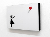 15cm X 10cm (postcard size) Block Mounted Print Banksy Love Heart Balloon Girl White Graffiti