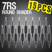 15pc 7RS Round Shader Disposable Tattoo Needle 1.9cm Grip Tube Tip Sterilised