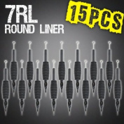 15pcs 7RL Round Liner Disposable Tattoo Needle 1.9cm Grip Tube Tip Sterilised