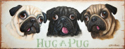 Three Pug Dogs Shabby Chic Wooden Sign / Plaque / Picture / Print