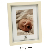 Bambino Baby Christening Gifts. MDF Photo Frame Mirror Print Teddy Bear 13cm x18cm
