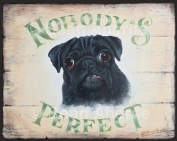 Black Pug Shabby Chic Wooden Sign / Plaque / Picture / Print