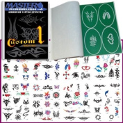 Master Airbrush® Brand Airbrush Tattoo Stencils Set Book #1 Reuseable Tattoo Template Set, Book Contains 100 Unique Stencil Designs, All Patterns Come on High Quality Vinyl Sheets with a Self Adhesive Backing.