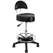 Black Multi-Purpose Hydraulic Stool w/ Back Rest & Foot Rest ST-34