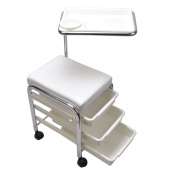 WHITE Pedicure Manicure Nail Salon SPA Cart Trolley Stool CHAIR w/ Shelves