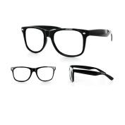 New Glossy Black Wayfarer Nerd Glasses Clear Lens Optical Quality