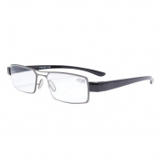 Eyekepper Thin Metal Frame Rim Plastic Arms Double Bridge Reading Glasses With Case 100