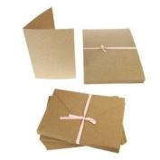 Papermania 50 x 13cm x 18cm RECYCLED KRAFT CARD BLANKS + ENVELOPES Plain Natural Brown