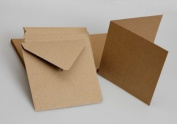 20 x Square 8.9cm Quality Grade Recycled Small Kraft Card Blanks + Envelopes