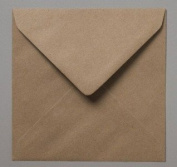100 x 15.5cm Square Plain Flecked Recycled Kraft Card Envelopes Natural Brown