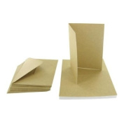 20 x A7 Quality Grade Recycled Kraft Greetings Card Blanks + Envelopes