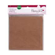 4 Door Window Square Brown Kraft Christmas Aperture Card Blanks + Envelopes