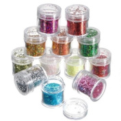 12 Colours Nail Art Tips Paillette Glitter Powder Decoration