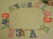 Vintage Baby Wooden Lettering ABC 123 Garland Nursery Bunting for little Girls or Boys Bedroom made by Gisela Graham