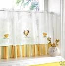 Chicken Kitchen Cafe Curtains White Yellow 150cm x 46cm