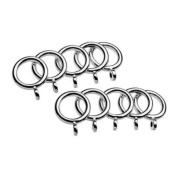 Universal Cafe Curtain Rod Rings, Nickel, 10 Pack