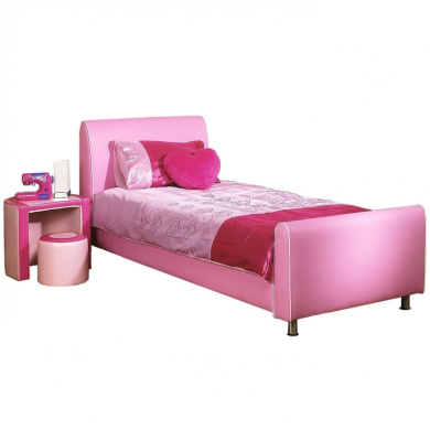 Azure Girl's Bed Frame - Pink Faux Leather - 0.9m Single Bed Frame ...