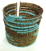 2-6 Day Delivery- Multiple Colours Available, Including Metallic Colours Handmade 25 Rows Beaded Cuff Bracelet Balinese Multi Strand Glass Beaded Jewellery Trendy Unique Design Modern Indonesian Fashion Accessory from Bali