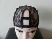 Small Black Middle Upart Weaving Cap with Sturdy Straps. 1'' X 3.5'' UPart. Upart. U-part. U part. Weaving Net. Weaving Cap. Wig Cap.