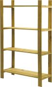 4 Shelf Slatted Storage Unit Wooden Home Garage Shelving Rack