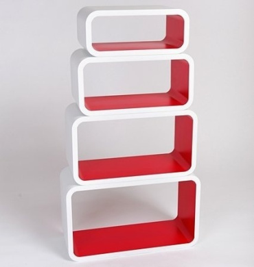 Retro Floating Shelves Bookcase Cube Shelving New 4pcs