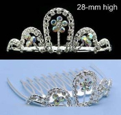 Bridal Heart Flower Girl Crystal Mini Tiara Comb T19