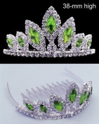 Exquisite Green Crystal Prom Wedding Crown Tiara comb T35