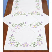 Jack Dempsey Starflowers Stamped Dresser Scarf & Doilies Perle Edge
