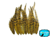 Hair Feathers ; 1 Dozen - SHORT GOLDEN OLIVE Grizzly Rooster Hair Extension Feathers
