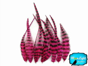 Hair Feathers ; 1 Dozen - SHORT HOT PINK Grizzly Rooster Feathers