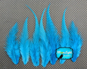 Hair Feathers ; 1 Dozen - SHORT SOLID LIGHT BLUE Rooster Feathers