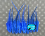 Hair Feathers ; 1 Dozen - SHORT SOLID ROYAL BLUE Rooster Feathers