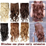 Better Dealz 50cm 135g Long Curly Clip-on Hair Extension Wigs Chestnut Brown,chocolate Brown,light Blonde,medium Brown,brown,natural Black Six Colour to Choose