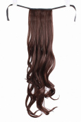Taobaopit Natural Synthetic Dark Brown Curly Ponytail Hair Extensions
