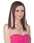 Set of 2 Pink and Black Zebra Striped Punk Glamour Costume Hair Extensions