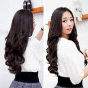 Vktech Width 25cm Lady Sexy Stylish Long Curl Wavy Clip-on Hair Extension Dark Brown