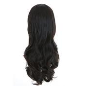 Zehui Womens Romantic 3/4 Full Hair Long Wavy Curly Half Wig Black