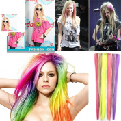 ECOSCO 60cm 24pc Assorted of colours Clips in Human Hair Extensions for Women's Beauty Hairsalon in Fashion