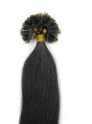 46cm 50g 1B# Off Black 100% Remy Pre Nail Tipped Hair Extensions in Fashion.