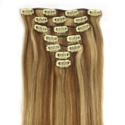 38cm 7 Piece Silky Straight Clip In Human Hair Extension #12/613 honey bleach blonde