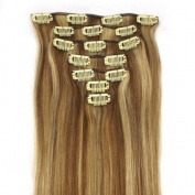 38cm 7 Piece Silky Straight Clip In Human Hair Extension #12/613 honey bleach blonde