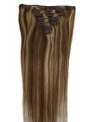60cm 70g Medium Brown with Bleach Blonde clips Hair Extensions in Fashion.
